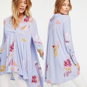 Free People Lilac Field of Butterflies Tunic Small